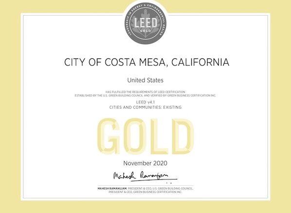 mesa costa leed prestigious certification wins council